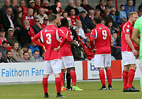 Anthony Cook of Ebbsfleet United is shown a red card by Referee Richard Hulme during Ebbsfleet United vs Chelmsford City, Vanarama National League South Play-Off Final Football at The PHB Stadium on 13th May 2017