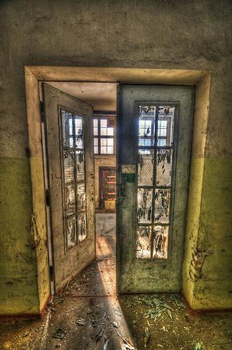 Old door in a uniform storage building