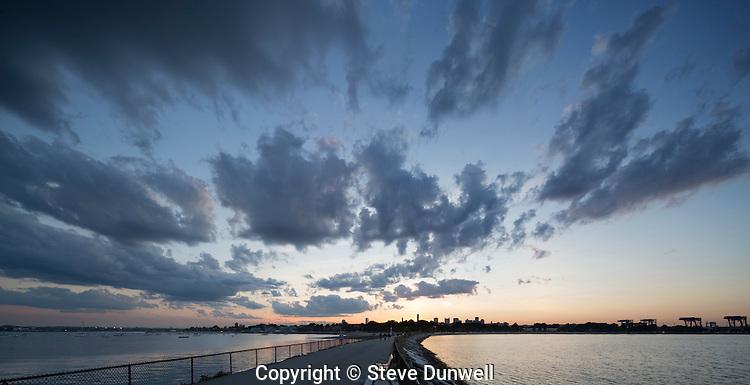 Clouds, Castle Island, low tide, south boston evening, Boston, MA