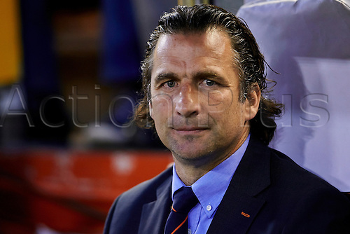 01.05.2014 Valencia, Spain. Valencia CF Head coach Juan Antonio Pizzi looks on prior to  the Europa Leauge Semi Finals between Valencia CF and Sevilla CF  at Mestalla stadium, Valencia