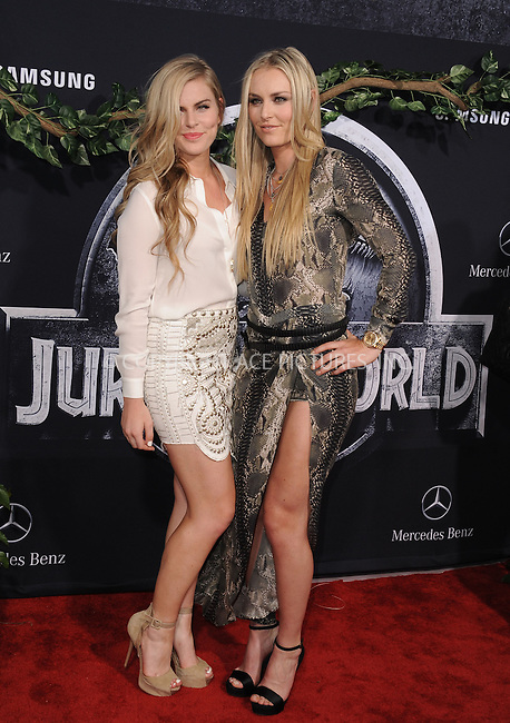 WWW.ACEPIXS.COM<br /> <br /> June 9 2015, LA<br /> <br /> U.S. skier Lindsey Vonn and sister Karin Kildow (L) arriving at the world premiere of 'Jurassic World' at the Dolby Theatre on June 9, 2015 in Hollywood, California. <br /> <br /> <br /> By Line: Peter West/ACE Pictures<br /> <br /> <br /> ACE Pictures, Inc.<br /> tel: 646 769 0430<br /> Email: info@acepixs.com<br /> www.acepixs.com