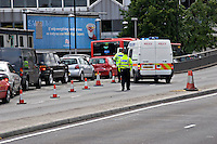 Road traffic accident on the M40 flyover in Marylebone London, which has caused it to be shut to traffic. The police are in attendance and are re-directing cars away from the scene..