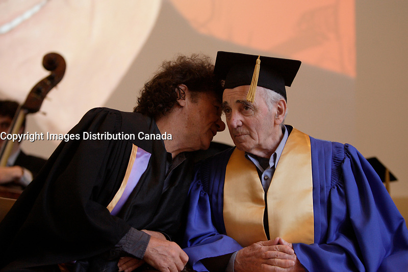 Montreal  (QC) CANADA - August 20  2009 - Robert Charlebois (L) talk tp Charles Aznavour receive an honorary diploma from Universite de Montreal.