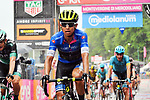 Esteban Chaves (COL) Mitchelton-Scott in the Maglia Azzurra crosses the finish line at the end of a very wet Stage 8 of the 2018 Giro d'Italia, running 209km from Praia a Mare to Montevergine di Mercogliano, Italy. 12th May 2018.<br /> Picture: LaPresse/Gian Mattia D'Alberto | Cyclefile<br /> <br /> <br /> All photos usage must carry mandatory copyright credit (&copy; Cyclefile | LaPresse/Gian Mattia D'Alberto)