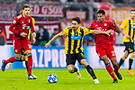 07.11.2018, Allianz Arena, Muenchen, GER, UEFA CL, FC Bayern Muenchen (GER) vs AEK Athen (GRC), Gruppe E, UEFA regulations prohibit any use of photographs as image sequences and/or quasi-video, im Bild Andre Simoes (AEK Athen #8) mit Serge Gnabry (FCB #22) <br /> <br /> Foto © nordphoto / Straubmeier
