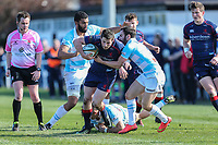 Robbie Fergusson of London Scottish with the ball during the Greene King IPA Championship match between London Scottish Football Club and Bedford Blues at Richmond Athletic Ground, Richmond, United Kingdom on 25 March 2017. Photo by David Horn / PRiME Media Images.
