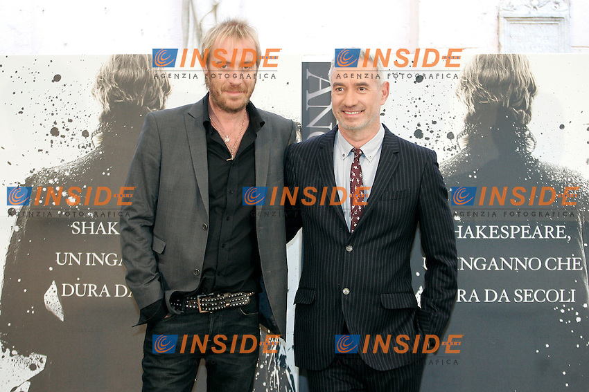 Actor Rhys Ifans and film director Roland Emmerich.Roma 19/10/2011 Anonymous - Photocall at Hotel Hassler, Rome..Photo Samantha Zucchi Insidefoto