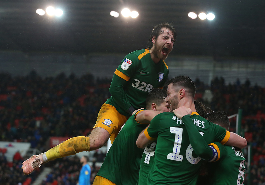Preston North End's Ben Pearson joins in the celebrations for team-mate Brad Potts (hidden from view) second goal<br /> <br /> Photographer Stephen White/CameraSport<br /> <br /> The EFL Sky Bet Championship - Stoke City v Preston North End - Saturday 26th January 2019 - bet365 Stadium - Stoke-on-Trent<br /> <br /> World Copyright © 2019 CameraSport. All rights reserved. 43 Linden Ave. Countesthorpe. Leicester. England. LE8 5PG - Tel: +44 (0) 116 277 4147 - admin@camerasport.com - www.camerasport.com