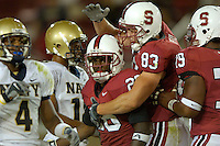 16 September 2006: Stanford Cardinal Anthony Kimble (26) and Jim Dray (83) during Stanford's 37-9 loss to the Navy Midshipmen at the inaugural game at the new Stanford Stadium in Stanford, CA. The new stadium was completed in just ten months at a cost of $90 million dollars. Kimble scored the first touchdown for Stanford.