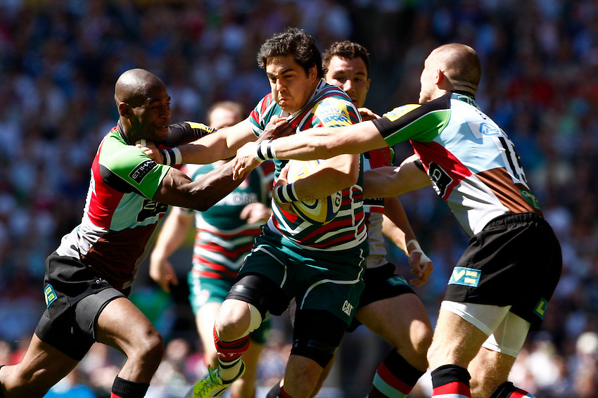 Photo: Richard Lane/Richard Lane Photography. Harlequins v Leicester Tigers. Aviva Premiership Final. 26/05/2012. Tigers' Anthony Allen is tackled by Quins' Ugo Monye and Matt Browne.