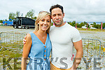 Laura McCarthy and Timmy Dowd (Marion Park) waiting for the Quad Bike Stunt Show on Sunday.