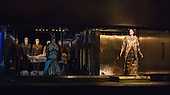 London, UK. 2 March 2016. Rebecca Bottone as Queen Tye and Zachary James as Scribe. English National Opera (ENO) dress rehearsal of the Philip Glass opera Akhnaten at the London Coliseum. 7 performances from 4  to 18 March 2016. Directed by Phelim McDermott with Anthony Roth Costanzo as Akhnaten, Emma Carrington as Nefertiti, Rebecca Bottone as Queen Tye, James Cleverton as Horemhab, Clive Bayley as Aye, Colin Judson as High Priest of Amon and Zachary James as Scribe. Skills performances by Gandini Juggling.