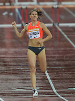 Zuzana HEJNOVA of CZE (Women's 400m Hurdles) wins the 400 Hurdles during the Sainsburys Anniversary Games Athletics Event at the Olympic Park, London, England on 24 July 2015. Photo by Andy Rowland.