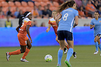 Houston, TX - Friday April 29, 2016: Chioma Ubogagu (9) of the Houston Dash brings the ball up the field against Sky Blue FC at BBVA Compass Stadium. The Houston Dash tied Sky Blue FC 0-0.