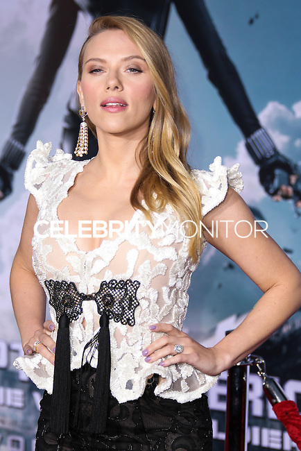 """HOLLYWOOD, LOS ANGELES, CA, USA - MARCH 13: Scarlett Johansson at the World Premiere Of Marvel's """"Captain America: The Winter Soldier"""" held at the El Capitan Theatre on March 13, 2014 in Hollywood, Los Angeles, California, United States. (Photo by Xavier Collin/Celebrity Monitor)"""