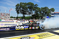 Jun. 3, 2012; Englishtown, NJ, USA: NHRA top fuel dragster driver Brandon Bernstein during the Supernationals at Raceway Park. Mandatory Credit: Mark J. Rebilas-