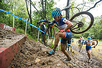 NWA Democrat-Gazette/BEN GOFF @NWABENGOFF<br /> Caroline Mani of France competes in the UCI Elite Women event Sunday, Oct. 6, 2019, during the the Fayettecross cyclocross races at Centennial Park at Millsap Mountain in Fayetteville. Mani places second in the race.