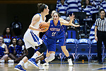 DURHAM, NC - NOVEMBER 26: Presbyterian's Kacie Hall (11) guards Duke's Rebecca Greenwell (23). The Duke University Blue Devils hosted the Presbyterian College Blue Hose on November 26, 2017 at Cameron Indoor Stadium in Durham, NC in a Division I women's college basketball game. Duke won the game 79-45.