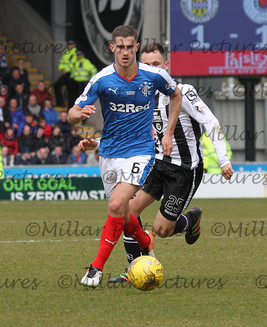 Dominic Ball in the St Mirren v Rangers Scottish Professional Football League Ladbrokes Championship match played at the Paisley 2021 Stadium, Paisley on 1.5.16.
