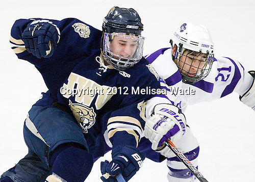 Max Carter (Johnson & Wales - 40), Brett Kaneshiro (Curry - 21) - The Curry College Colonels defeated the Johnson & Wales University Wildcats 5-4 on Curry's senior night on Saturday, February 18, 2012, at Max Ulin Rink in Milton, Massachusetts.