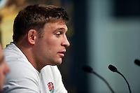 Tom Youngs of England speaks to the media at a press conference. England Captain's Run on October 9, 2015 at Manchester City Stadium in Manchester, England. Photo by: Patrick Khachfe / Onside Images