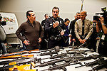 LA Mayor Antonio Villaraigosa and local law enforcement and city officials hold a press conference about the city's gun buy back program held yesterday.. 901 handguns, 698 rifles, 363 shotguns and 75 assault weapons were collected yesterday. Gift cards for Ralph's supermarket, ranging from $50-$200, were traded for the guns. The gift cards were donated to the city's buyback program. Two rocket launchers were also turned in..LA Mayor Antonio Villaraigosa and LAPD Chief Charlie Beck.