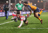 Gloucester's Louis Rees-Zammit scores his sides second try<br /> <br /> Photographer Bob Bradford/CameraSport<br /> <br /> European Rugby Heineken Champions Cup Group E - Gloucester v Montpellier Herault Rugby - Saturday 11th January 2020 - Kingsholm Stadium - Gloucester<br /> <br /> World Copyright © 2019 CameraSport. All rights reserved. 43 Linden Ave. Countesthorpe. Leicester. England. LE8 5PG - Tel: +44 (0) 116 277 4147 - admin@camerasport.com - www.camerasport.com