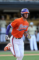 Third baseman Weston Wilson (8) of the Clemson Tigers in a game against the Wofford College Terriers on Tuesday, May 5, 2015, at Russell C. King Field in Spartanburg, South Carolina. Wofford won, 17-9. (Tom Priddy/Four Seam Images)