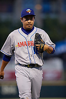 Amarillo Sod Poodles pitcher Kazuhisa Makita (18) during a Texas League game against the Frisco RoughRiders on May 16, 2019 at Dr Pepper Ballpark in Frisco, Texas.  (Mike Augustin/Four Seam Images)