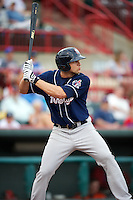 New Hampshire Fisher Cats outfielder Jake Marisnick #27 during an Eastern League game against the Erie Seawolves at Jerry Uht Park on August 9, 2012 in Erie, Pennsylvania.  Erie defeated New Hampshire 6-0.  (Mike Janes/Four Seam Images)