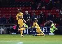 Northampton Town's Kevin van Veen celebrates scoring his side's equalising goal to make the score 2-2<br /> <br /> Photographer Andrew Vaughan/CameraSport<br /> <br /> Emirates FA Cup First Round - Lincoln City v Northampton Town - Saturday 10th November 2018 - Sincil Bank - Lincoln<br />  <br /> World Copyright © 2018 CameraSport. All rights reserved. 43 Linden Ave. Countesthorpe. Leicester. England. LE8 5PG - Tel: +44 (0) 116 277 4147 - admin@camerasport.com - www.camerasport.com