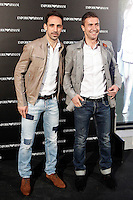 Atletico de Madrid players Juanfran Torres and Gabi  attends the Emporio Armani Boutique opening at Serrano street in Madrid, Spain. April 08, 2013. (ALTERPHOTOS/Caro Marin) /NortePhoto