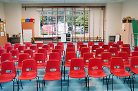 Preparing the room for a presentation by the local police to primary school kids on keeping safe on the way to school.