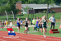 The chase pack that includes: St. Joe's Lucy May, Lafayette's Katherine Kelly, Rockwood Summit's Melissa Menghini, and Seckman's Katelyn Evans, run to the finish of the Class 4 Sectional 1 Girls 800 meters, fighting for the one of the final three qualifying spots for the State Track and Field Championships.