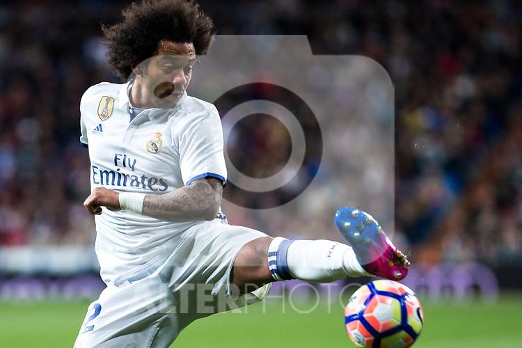 Marcelo Vieira of Real Madrid  during the match of Spanish La Liga between Real Madrid and Real Betis at  Santiago Bernabeu Stadium in Madrid, Spain. March 12, 2017. (ALTERPHOTOS / Rodrigo Jimenez)