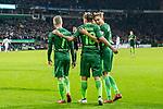11.02.2018, Weserstadion, Bremen, GER, 1.FBL, SV Werder Bremen vs VfL Wolfsburg<br /> <br /> im Bild<br /> Jubel zum 3:1, Florian Kainz (Werder Bremen #7), Max Kruse (Werder Bremen #10), Ludwig Augustinsson (Werder Bremen #5),  <br /> <br /> Foto &copy; nordphoto / Ewert