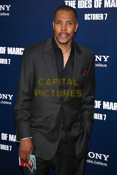 "Eriq La Salle.The New York Premiere of ""The Ides of March"" at the Ziegfeld Theater, New York, NY, USA..October 5th, 2011.half length black shirt grey gray suit goatee facial hair .CAP/LNC/TOM.©TOM/LNC/Capital Pictures."