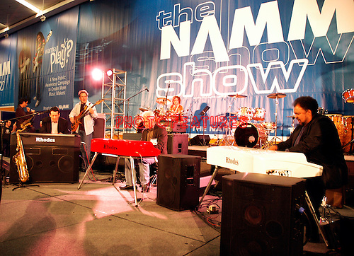 Jeff Lorber, David Benoit and George Duke play new Rhodes keyboards at NAMM Show tribute to Harold Rhodes January 18th 2007<br /> Photo by Chris Walter/Photofeatures