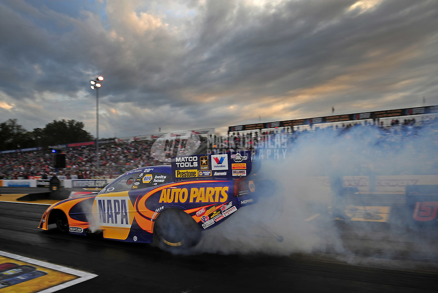 Sept. 30, 2011; Mohnton, PA, USA: NHRA funny car driver Ron Capps during qualifying for the Auto Plus Nationals at Maple Grove Raceway. Mandatory Credit: Mark J. Rebilas-