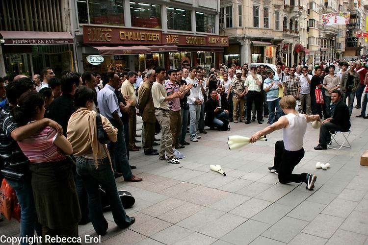 Street performer on Istiklal Street, Istanbul, Turkey