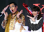 January 18, 2017, Tokyo, Japan - Japanese singer-songwriter Pikotaro (L) and Japanese actress Mirei Kiritani pose for photo after they performed dancing of Pikotaro's mega hit song PPAP for a promotion of Japanese mobile communication service Y!mobile, a subsidiary of Japanese telecom giant Softbank in Tokyo on Wednesday, January 18, 2017. Pikotaro announced he would have a concert at Tokyo's Budokan Hall in March.   (Photo by Yoshio Tsunoda/AFLO) LWX -ytd
