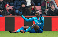 Alex Iwobi of Arsenal shows his frustration during the Premier League match between Bournemouth and Arsenal at the Goldsands Stadium, Bournemouth, England on 14 January 2018. Photo by Andy Rowland.