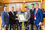 At  the  Tralee Municipal District annual awards ceremony  on Friday,  in the Council chambers Pictured Cllr Brendan Cronin (Mayor of Killarney) presented  Fossa Rowing Team Paudie McCarthy, John Alman, David Blennerhassett, Pat Tagney, Vincent Griffin