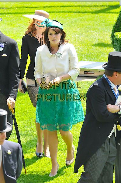Princess Eugenie .At Day One of Royal Ascot, Ascot Racecourse, Ascot, Berkshire, England, UK, June 14th, 2011..full length green teal lace dress jacket hat  skirt clutch bag .CAP/CAS.©Bob Cass/Capital Pictures.