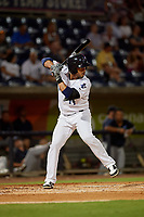 Pensacola Blue Wahoos Ivan De Jesus Jr. (14) at bat during a Southern League game against the Mobile BayBears on July 25, 2019 at Blue Wahoos Stadium in Pensacola, Florida.  Pensacola defeated Mobile 3-2 in the second game of a doubleheader.  (Mike Janes/Four Seam Images)