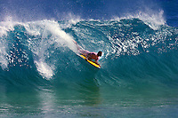 Body boarder takes off at a popular yet dangerous surfing spot, Sandy beach on the east coast of Oahu, Hawaii.