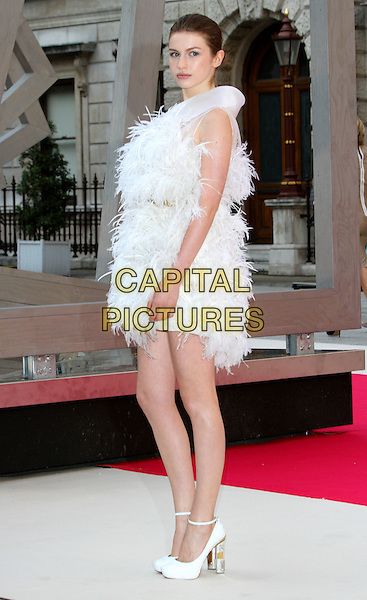 Tali Lennox.Royal Academy Summer Exhibition Preview party at the Royal Academy of Arts, Piccadilly, London, England..May 30th 2012.full length white dress feathers ankle strap shoes side .CAP/ROS.©Steve Ross/Capital Pictures.