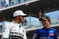 1st December 2019; Yas Marina Circuit, Abu Dhabi, United Arab Emirates; Formula 1 Abu Dhabi Grand Prix, race day; Mercedes AMG Petronas Motorsport, Lewis Hamilton and McLaren, Lando Norris - Editorial Use
