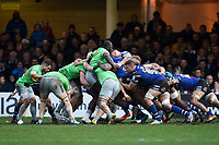 A general view of a scrum. Gallagher Premiership match, between Bath Rugby and Harlequins on March 2, 2019 at the Recreation Ground in Bath, England. Photo by: Patrick Khachfe / Onside Images