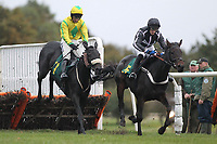 Race winner Pass The Time ridden by Dougie Costello (L) jumps alongside Miss Conduct ridden by James Best during the Norfolk Hospice Tapping House Fillies Juvenile Hurdle